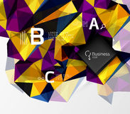 Mosaic low poly abstract background with infographics. Abc options with text. Vector template background for workflow layout, diagram, number options or web Stock Image