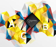 Mosaic low poly abstract background with infographics. Abc options with text. Vector template background for workflow layout, diagram, number options or web Stock Images