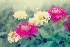 Mosaic and low polygon background on flowers background Royalty Free Stock Photos