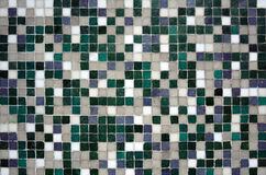Mosaic made of green shade and white tiles Royalty Free Stock Image