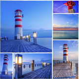 Mosaic made of sunset lighthouse theme Stock Photography