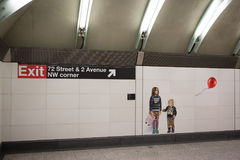 Mosaic made of tiles at the 2nd Avenue Subway Royalty Free Stock Photo