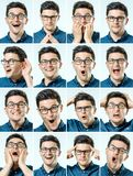 Mosaic of man expressing different emotions Royalty Free Stock Images