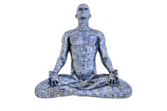 Mosaic man in meditation. Mosaic man meditation on a white background vector illustration