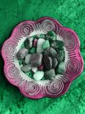 Mosaic mandala bowl with stones, photographed in South Africa