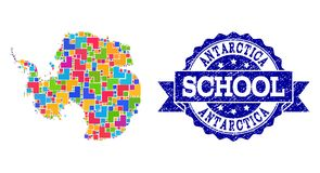 Mosaic Map of Antarctica and Grunge School Seal Composition stock illustration
