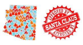 Mosaic Map of Arizona State of Flame and Snowflakes and Approved by Santa Claus Scratched Seal vector illustration