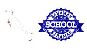 Mosaic Map of Bahamas Islands and Scratched School Stamp Collage royalty free illustration