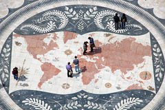 Mosaic map in Belem district of Lisbon, Portugal Royalty Free Stock Photos