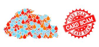 Mosaic Map of Bhutan of Fire and Snowflakes and Card Scam Scratched Seal vector illustration