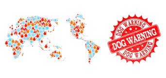 Mosaic Map of Earth of Flame and Snow and Dog Warning Distress Seal royalty free illustration
