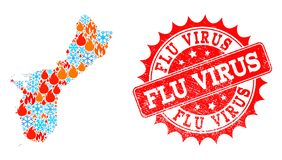 Mosaic Map of Guam Island of Fire and Snow and Flu Virus Distress Seal vector illustration