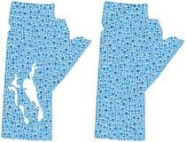 Mosaic map Manitoba Canada Stock Image
