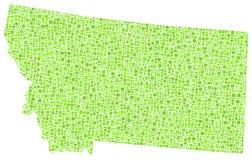 Mosaic map of Montana - USA - Stock Image