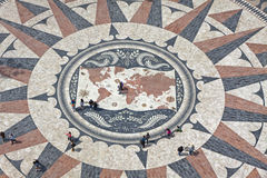 Mosaic map of the Portuguese discoveries in Belem, Lisbon, Portu Royalty Free Stock Images