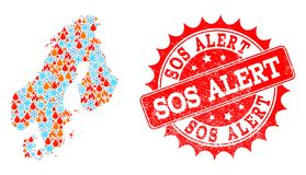 Mosaic Map of Scandinavia of Flame and Snow and Sos Alert Grunge Seal stock illustration