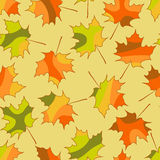 Mosaic maple leaf seamless pattern, vector autumn seamless background Stock Photo