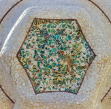Mosaic medallion. In the park Guell in Barcelona - Spain royalty free stock photo