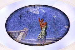 The mosaic on the metro. Mosaics on the Mayakovskaya metro station in Moscow Stock Photos