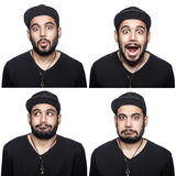 Mosaic of middle eastern expressing different emotions. Royalty Free Stock Photography
