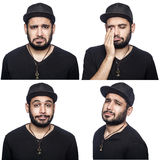 Mosaic of middle eastern expressing different emotions. Mosaic of middle eastern expressing different sad emotions. The bearded man with black t-shirt and cap Royalty Free Stock Images