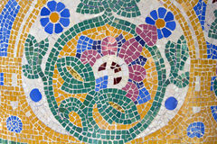 Mosaic. Modernist art (also called Art Deco). Floral mosaic in The Palace of Catalan Music, a concert hall. It was built between 1905 and 1908. Barcelona stock photography