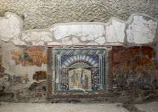 Mosaic of Neptune and Amphitrite, House of the Neptune Mosaic in Parco Archeologico di Ercolano. Pictured is a Mosaic of Neptune and Amphitrite, House of the Royalty Free Stock Images