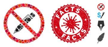 Mosaic No Pencil Icon with Coronavirus Grunge Facts Stamp