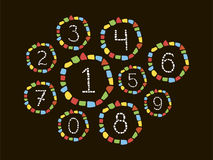 Mosaic numbers. Isolated mosaic numbers in frame from 0 to 9. Ceramic tile texture. Easy to recolor. Vector mosaic figures on black background Royalty Free Stock Photo
