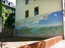 Mosaic by the old Jewish cemetery at Hamburger Straße stock photos