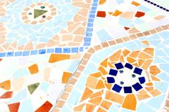 Bright colorful mosaic of old Spanish tiles,Spain Royalty Free Stock Image