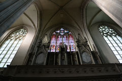 Minoritenkirche windows ang organ - Vienna, Austria Stock Photos