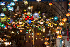Mosaic Ottoman lamps from Grand Bazaar Royalty Free Stock Photos
