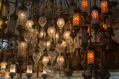 Mosaic Ottoman lamps from Grand Bazaar Royalty Free Stock Image