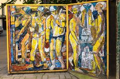 Mosaic panel in Saint-Petersburg. SAINT- PETERSBURG, RUSSIA - JULY 10, 2016: Mosaic panel at the courtyard of Minor Academy of art in Saint-Petersburg, Russia Royalty Free Stock Images