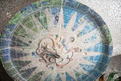 Mosaic of Parc Guell in Barcelona. Colorful mosaic ceiling of Parc Guell made by Antonio Gaudi in Barcelona, Spain Royalty Free Stock Image