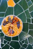 Mosaic in Park Guell, Barcelona. This is a detail of the world famous mosaics in Park Güell in Barcelona, Spain royalty free stock photos