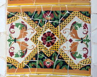 Mosaic in Park Guell, Barcelona. This is a detail of the world famous mosaics in Park Güell in Barcelona, Spain stock image