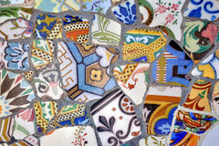 Mosaic in Park Guell, Barcelona Royalty Free Stock Photo