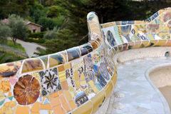 Mosaic in park Guell in Barcelona, Spain Stock Image