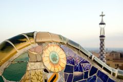 Mosaic in Park Guell, designed by Antoni Gaudi. Barcelona, Spain Royalty Free Stock Image