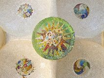A Mosaic of Park Guell designed by Antonio Gaudi. Barcelona. Mosaic of Park Guell designed by Antonio Gaudi in Barcelona. Part of the UNESCO World Heritage Site Stock Photography