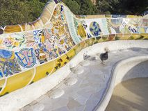 A Mosaic of Park Guell designed by Antonio Gaudi. Barcelona. Mosaic of Park Guell designed by Antonio Gaudi in Barcelona. Part of the UNESCO World Heritage Site Royalty Free Stock Photography