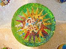 A Mosaic of Park Guell designed by Antonio Gaudi. Barcelona stock image