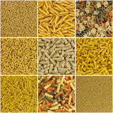 Mosaic of pasta. In a collage composition Royalty Free Stock Images