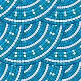 Mosaic pattern - Blue ceramic round classic geometric ornaments. Stock Photos