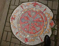 Mosaic-patterned pavement Stock Images