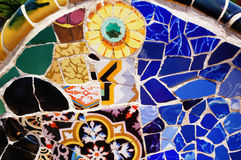 Mosaic Patterns, Parc Guell, Barcelona. This picture shows the mosaic on one of a bench in Parc Guell, a park designed by Gaudi in Barcelona Royalty Free Stock Photos