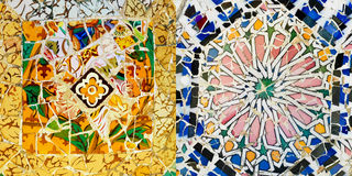 Mosaic Patterns, Parc Guell, Barcelona. Ceramic art in Park Guell in Barcelona, Spain; abstract colorful background Stock Photo