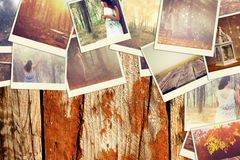 Mosaic with pictures of different scenic and landscapes. collage with retro effect. Stock Photos